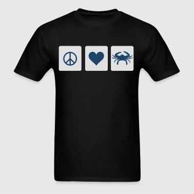 Peace, Love, Blue Crab Clothing Shirts Apparel Tee - Men's T-Shirt