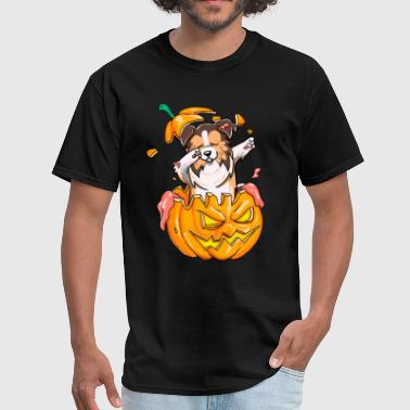 Sheltie Dabbing Halloween T-Shirt Pumpkin Dab - Men's T-Shirt