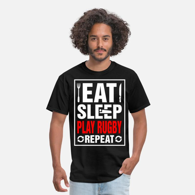 2017 T-Shirts - Eat Sleep Play Rugby Repeat - Men's T-Shirt black