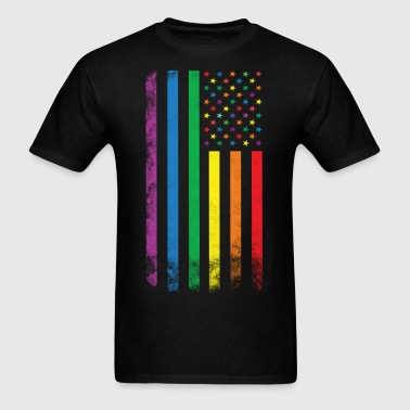 Rainbow American Flag - Men's T-Shirt