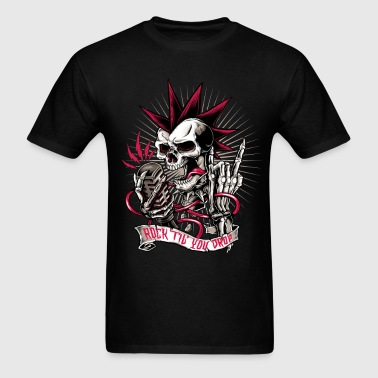 Skull rock hard heavy metal halloween biker  - Men's T-Shirt