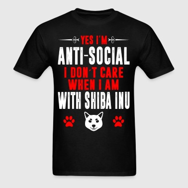 Antisocial I Dont Care When With Shiba Inu Tshirt - Men's T-Shirt