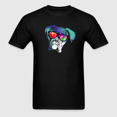 Boxer Dog with Neon Sunglasses - Men's T-Shirt