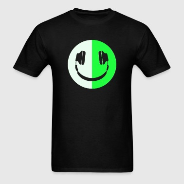 Glow In The Dark Headphone Smiley - Men's T-Shirt
