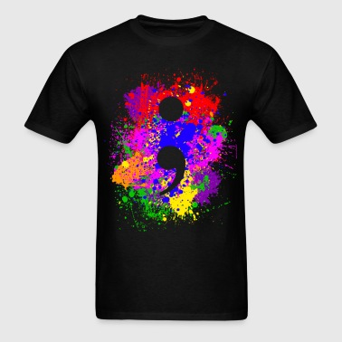 Paint Splatter Semicolon - Men's T-Shirt