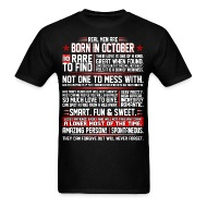 Attractive Real Men Are Born In October Birth Month Tshirt   Menu0026#39;s T