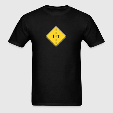 Road_Sign_both_direction_and_dashed_line - Men's T-Shirt