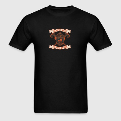 Head firefighter hatchet hat inscription axe ax - Men's T-Shirt