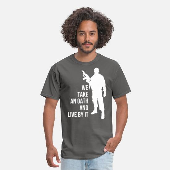 Oath T-Shirts - Oath - We take an oath and live by it - Men's T-Shirt charcoal