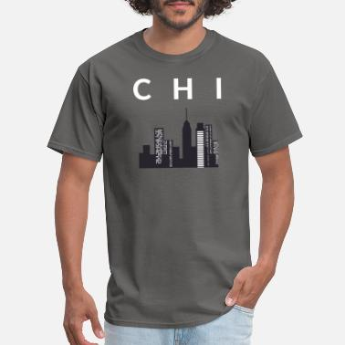 Town CHI Town Skyline Chicago City White Print T-Shirt - Men's T-Shirt