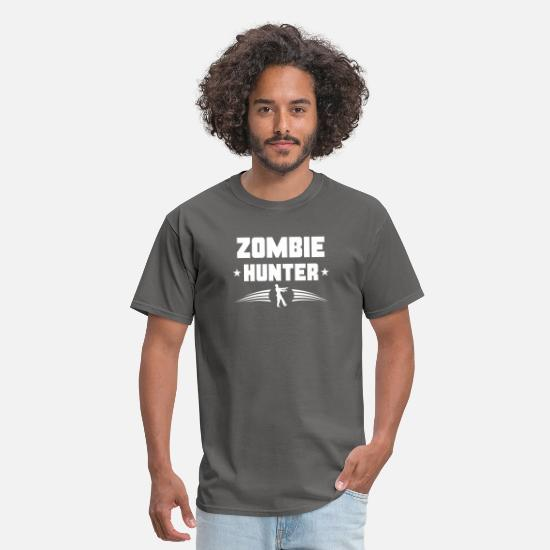Humor T-Shirts - Zombie Hunter Zombie Silhouette - Men's T-Shirt charcoal