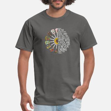 Peace Rock Hippie Peace Rock And Roll Never Ending - Men's T-Shirt