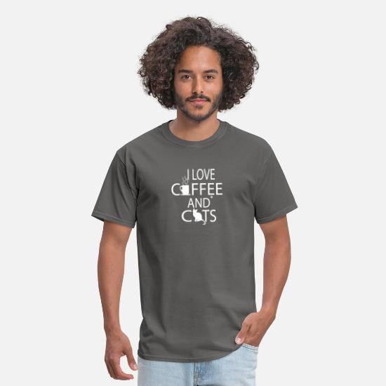 Love T-Shirts - I LOVE COFFEE AND CATS T-SHIRT - Men's T-Shirt charcoal