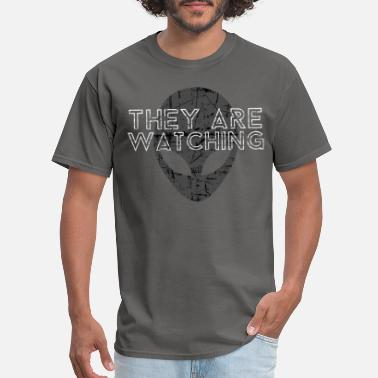 Area 51 They Are Watching | Alien Space Stars Ufo Gift - Men's T-Shirt