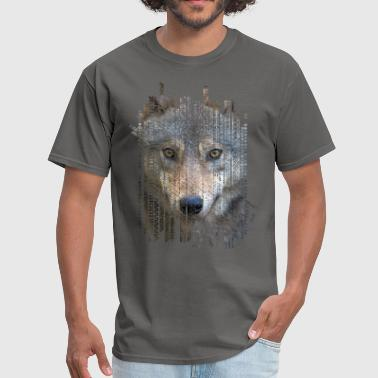 Wolf portrait  on tribal ethnic pattern texture - Men's T-Shirt