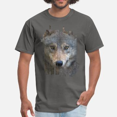 Ethnic Tribal Wolf portrait  on tribal ethnic pattern texture - Men's T-Shirt