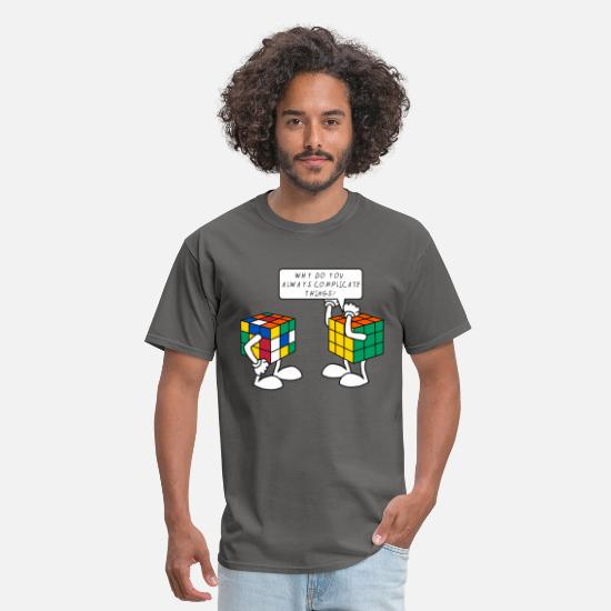 Geek T-Shirts - Rubik's Cube Complicate Things - Men's T-Shirt charcoal