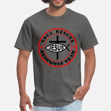 Camisetas Cristianas JESUS SOUL RECUE RESPONSE log/ Jesus christ fish - Men's T-Shirt