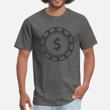 Card Game Poker Chip, Dollar Sign - Men's T-Shirt