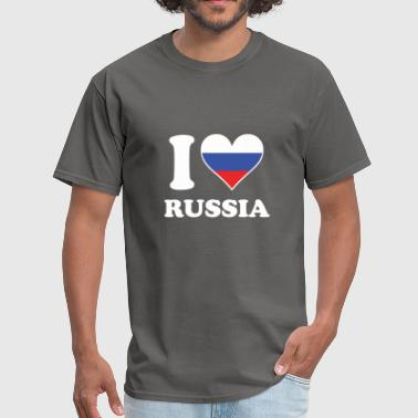 I Heart Russia I Love Russia Russian Flag Heart - Men's T-Shirt