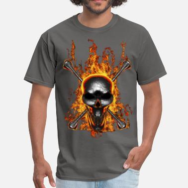 Molten Molten Lead Skull On Fire - Men's T-Shirt
