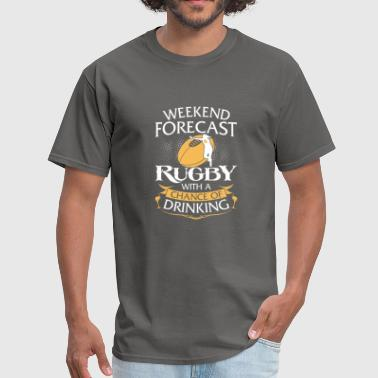 Weekend Forecast Rugby With Drinking - Men's T-Shirt