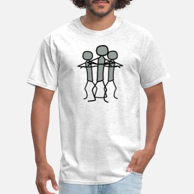 Skeptic team 3 friends crew stickman offended arms cross c - Men's T-Shirt