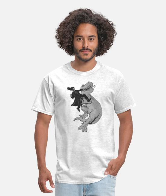 Hipster T-Shirts - Punching a T-Rex like a boss - Men's T-Shirt light heather gray