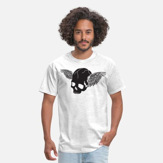 Wing T-Shirts - Skull with Wings - Men's T-Shirt light heather gray