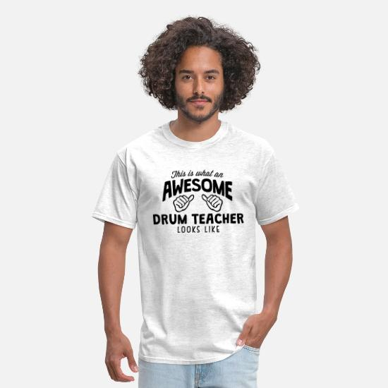 Drum T-Shirts - awesome drum teacher looks like - Men's T-Shirt light heather grey