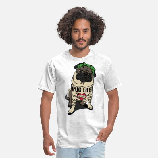 Funny T-Shirts - Pug Life - Men's T-Shirt light heather gray