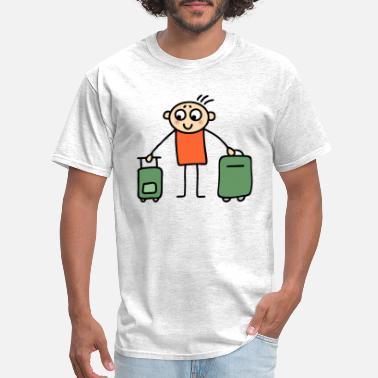Stick Man Cartoon Man with suitcases - Men's T-Shirt