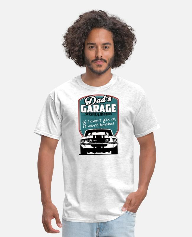 Cars T-Shirts - Dad's Garage with 68 Mustang - Men's T-Shirt light heather gray