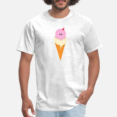 Kids Six Pack Ice Cream With Face Funny Cherry Kawaii Design - Men's T-Shirt