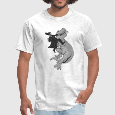 Black Punching a T-Rex like a boss - Men's T-Shirt