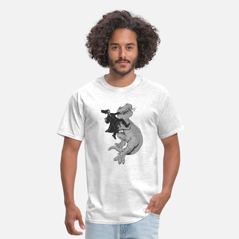 Funny T-Shirts - Punching a T-Rex like a boss - Men's T-Shirt light heather grey