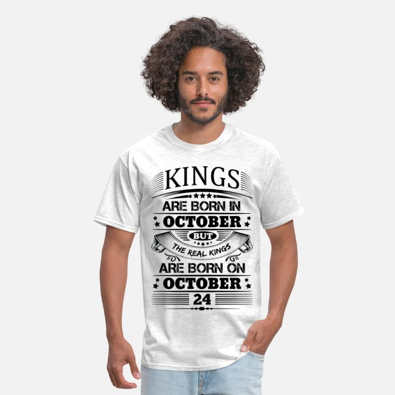 October Birthday T-Shirts - Real Kings Are Born On October 24 - Men's T-Shirt light heather grey
