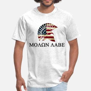 Spartan Gun Rights Molon Labe Red white and Blue - Men's T-Shirt