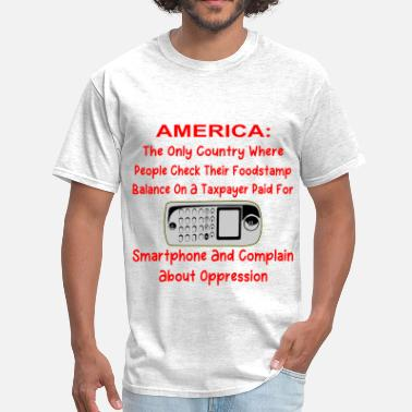Food Stamps Checking Your Foodstamp Balance On A Taxpayer Paid - Men's T-Shirt
