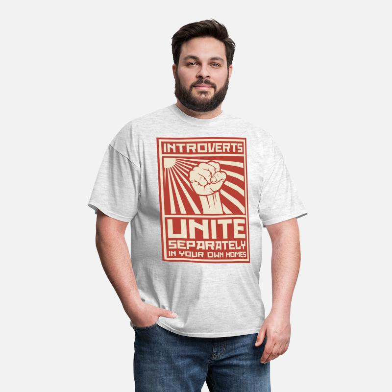 Introvert T-Shirts - Introverts Unite Separately In Your Own Homes - Men's T-Shirt light heather grey