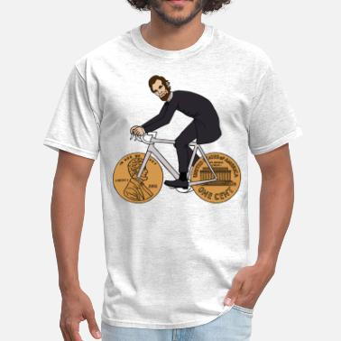 Lincoln abe lincoln riding bike with penny wheels - Men's T-Shirt