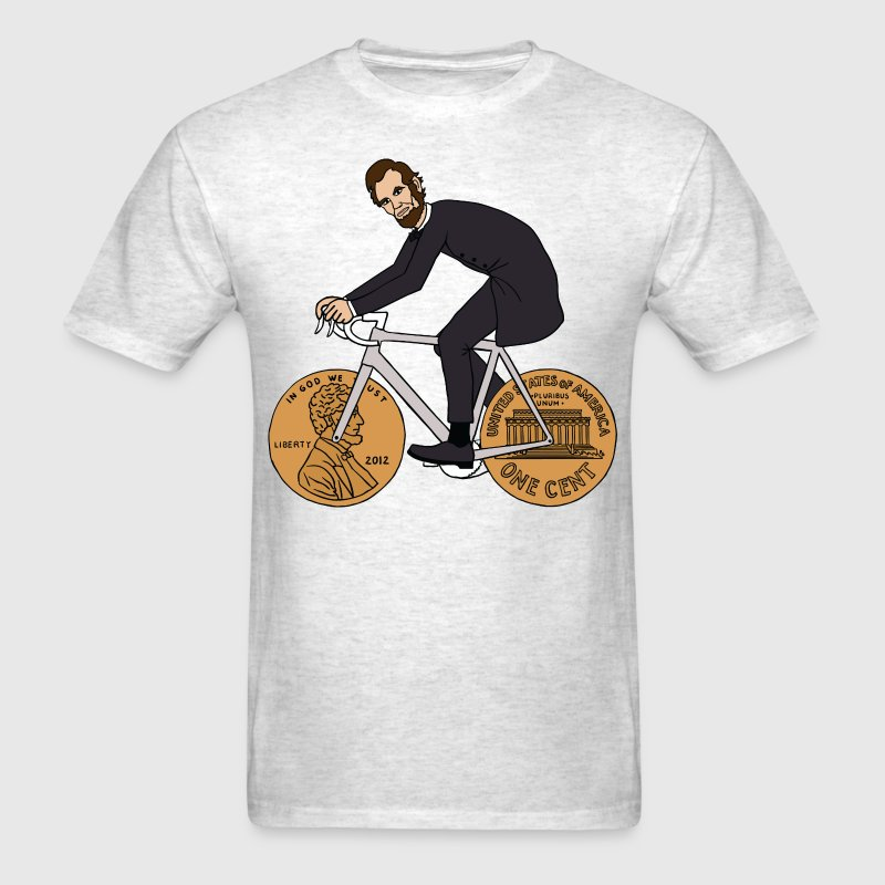 abe lincoln riding bike with penny wheels - Men's T-Shirt