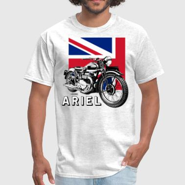 Ariel Motorcycles Classic ARIEL motorcycle script and illustration + Union Jack - Men's T-Shirt