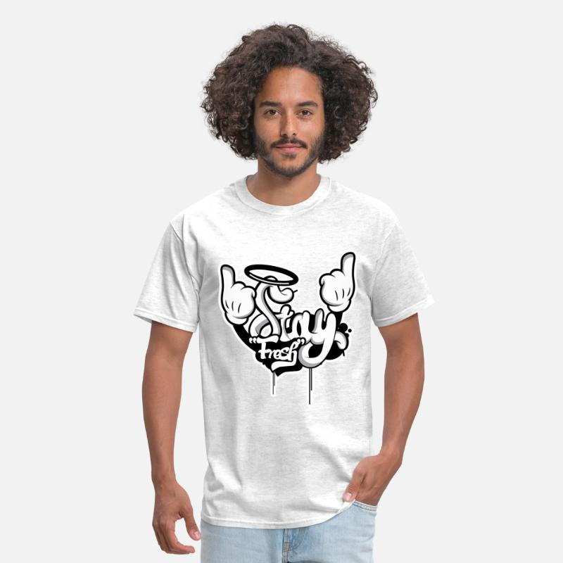 Dope T-Shirts - STAY FRESH WHITE OUTLINE.png - Men's T-Shirt light heather grey