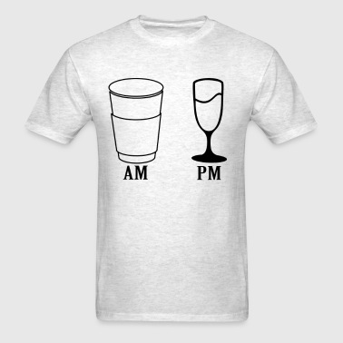 am_pm_wine_coffee_time_ - Men's T-Shirt
