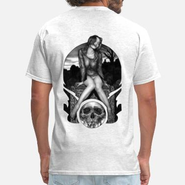Half Naked Girl Vampire Girl on Grave Stone - Men's T-Shirt