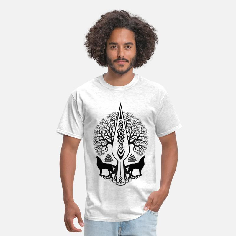 Nordic T-Shirts - Gungnir - Spear of Odin and Tree of life  -Yggdras - Men's T-Shirt light heather grey