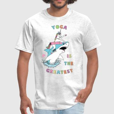 Yoga Is The Greatest Unicorn Riding Shark - Men's T-Shirt