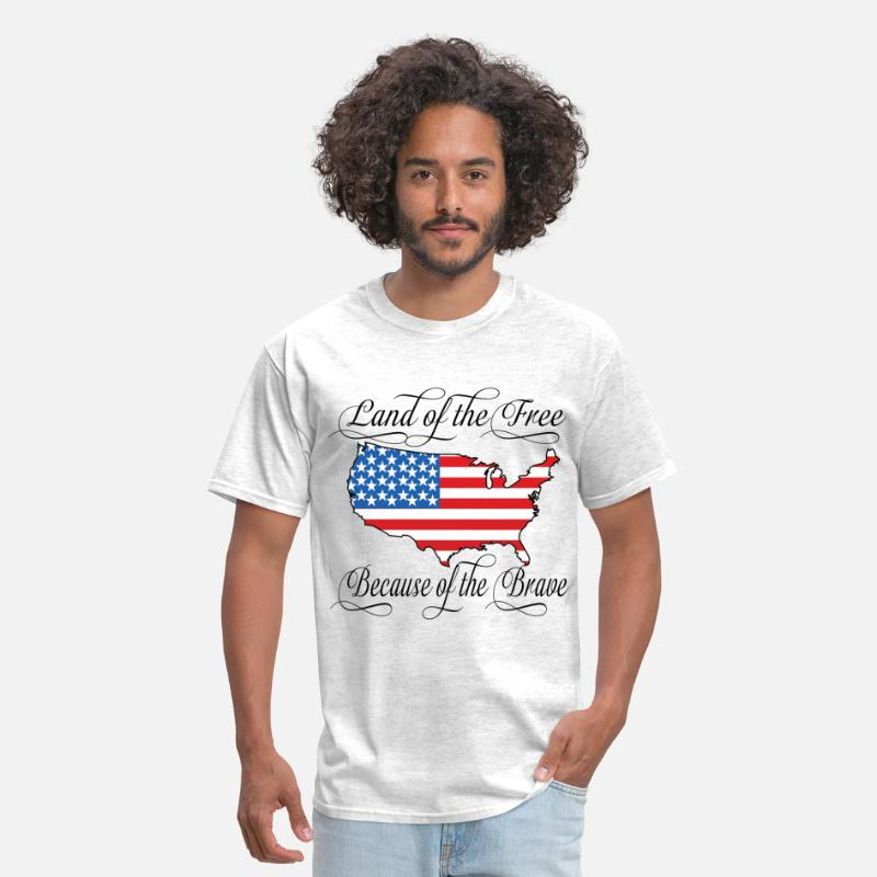 Military T-Shirts - Land of the Free USA Flag - Men's T-Shirt light heather grey