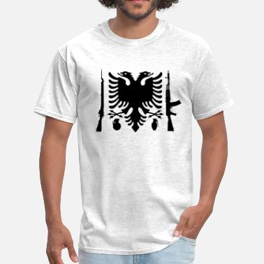Nazi Flag Albanian Flag Ak 47 - Men's T-Shirt